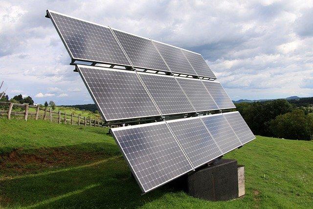 Solar Panel in Field of Grass