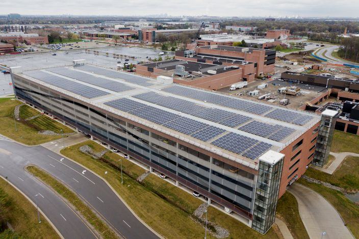 solar panels at Ford's research and engineering center